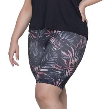 Bermuda Selene Estampada Fitness Plus Size Feminina - Grafite e Rosa