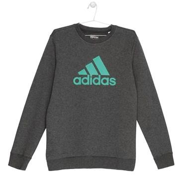Blusa Moletom Adidas Essentials Crew Infantil - Grafite e Verde