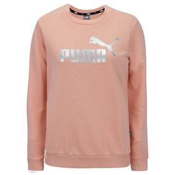 Blusa Moletom Puma Essentials+ Crew Neck Metallic Logo Feminina - Rosa