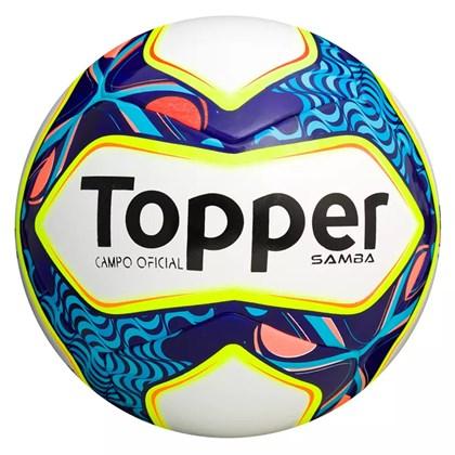 Bola de Futebol Campo Topper Samba - Branco e Azul - Esporte Legal 62c1b08c45573