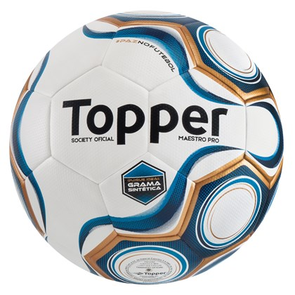 Bola Futebol Topper Maestro Pro Society Grama Sintética - Branco e ... 73cfbf2c7d4ee