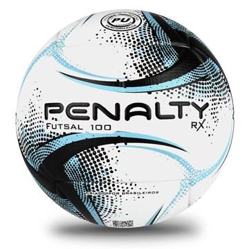 Bola Futsal Penalty RX 100 XXI - Branco, Preto e Azul