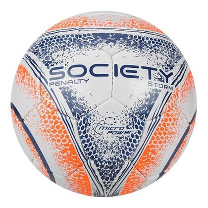 37159b361c7d1 Bola Society Penalty Storm VIII Com Costura - Branco, Laranja e Azul ...