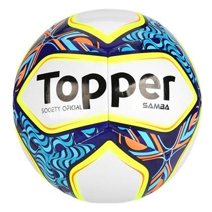 1565dd9887a95 Bola Society Topper Samba - Branco e Azul - Esporte Legal
