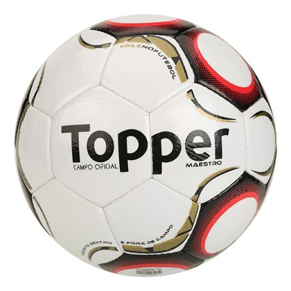 Bola Topper Campo Maestro TD2 - Branco e Vermelho - Esporte Legal e0c6223495691