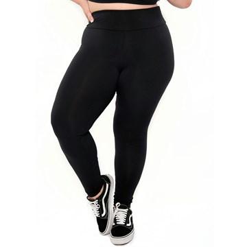 Calça Legging Selene Básica Fitness Plus Size Feminina - Preto