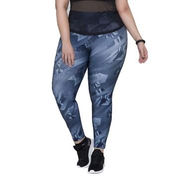 Calça Legging Selene Estampada Fitness Plus Size Feminina - Azul Médio