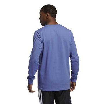 Camisa Adidas Estampada Hoops Manga Longa Masculina - Azul