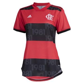Camisa Adidas Flamengo Oficial I 2021/22 Feminina - Vermelho e Preto