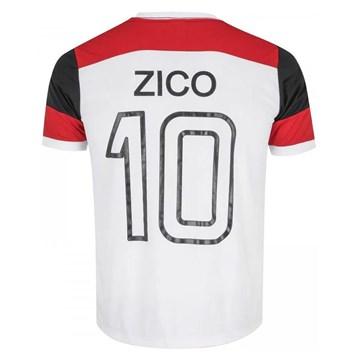Camisa Braziline Flamengo Zico Retrô Masculina - Branco