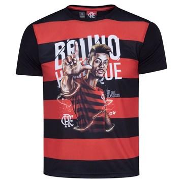 Camisa Flamengo Braziline Bruno Henrique Infantil - Preto e Vermelho