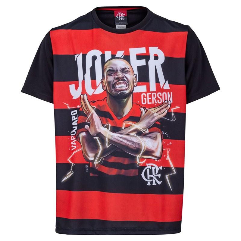 Camisa Flamengo Braziline Gerson Infantil - Preto e Vermelho