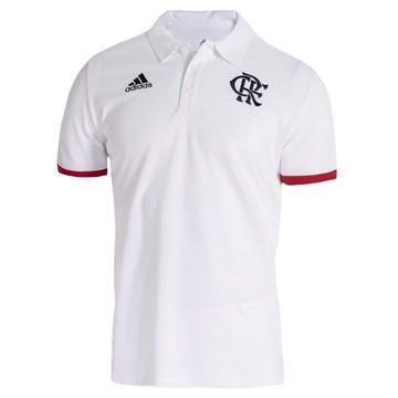 Camisa Polo Adidas CR Flamengo 3-Stripes Masculina - Branco