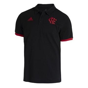 Camisa Polo Adidas CR Flamengo 3-Stripes Masculina - Preto