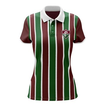 Camisa Polo Fluminense Braziline Mall Feminina - Tricolor