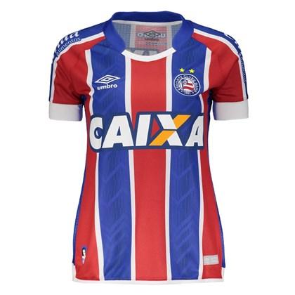 2faa327e841d3 Camisa Umbro Bahia Oficial 2 2017 2018 Feminina - Azul e Vermelho ...