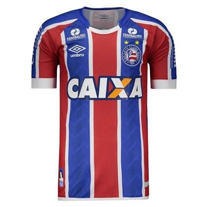 473fd0f81a Camisa Umbro Bahia Oficial 2 2017 2018 Masculina - Azul e Vermelho ...
