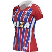 1ec74d5db6 Camisa Umbro Bahia Oficial 2 2017 2018 Feminina - Azul e Vermelho ...