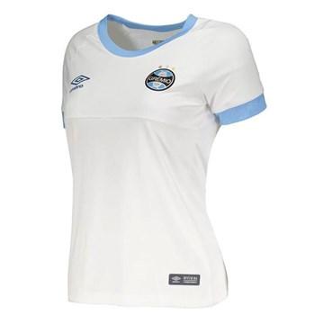Camisa Umbro Grêmio Oficial II 2018 Feminina - Branco e Azul