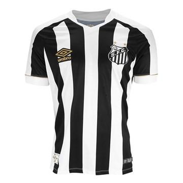 Camisa Umbro Santos Oficial II 2018 (Game) Masculina - Branco e Preto