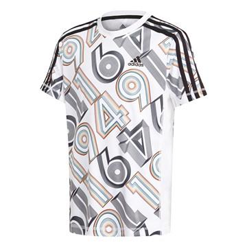 Camiseta Adidas Aeroready Bold Graphic Infantil - Branco e Preto