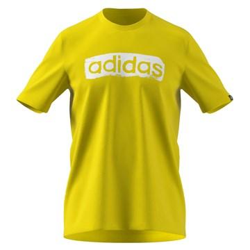 Camiseta Adidas Box Estampada Brushstroke Logo Masculina - Amarelo