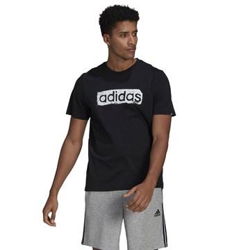Camiseta Adidas Box Estampada Brushstroke Logo Masculina - Preto