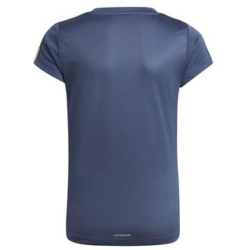 Camiseta Adidas Designed 2 Move 3 Stripes Infantil - Marinho e Rosa