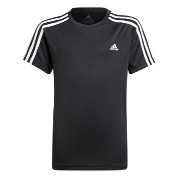 Camiseta Adidas Designed 2 Move 3 Stripes Infantil - Preto