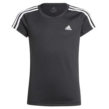 Camiseta Adidas Designed 2 Move 3 Stripes Infantil - Preto e Branco
