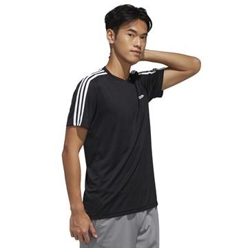 Camiseta Adidas Designed 2 Move 3 Stripes Masculina - Preto