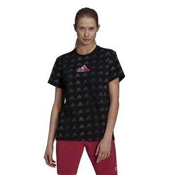 Camiseta Adidas Essentials Boyfriend Gradient Logo Feminina - Preto