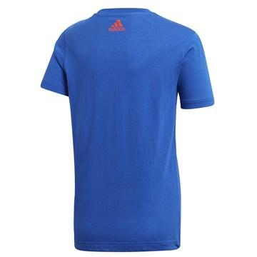 Camiseta Adidas Logo Estampada Juvenil - Azul e Vermelho