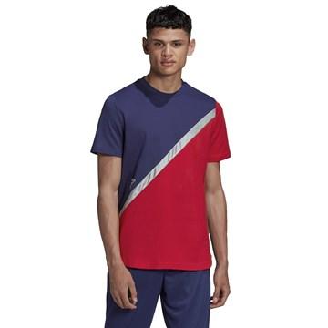 Camiseta Adidas Tan Block Masculina - Marinho e Vermelho