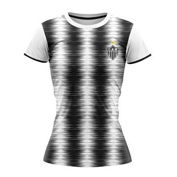 Camiseta Atlético Mineiro Braziline Part Feminina - Branco e Preto