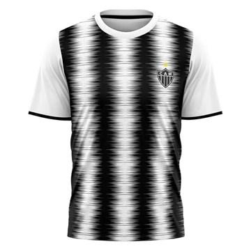 Camiseta Atlético Mineiro Braziline Part Masculina - Branco e Preto