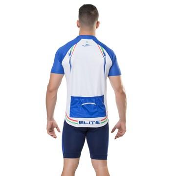 Camiseta Ciclismo Elite 135165 Plus Size Masculina - Branco e Azul