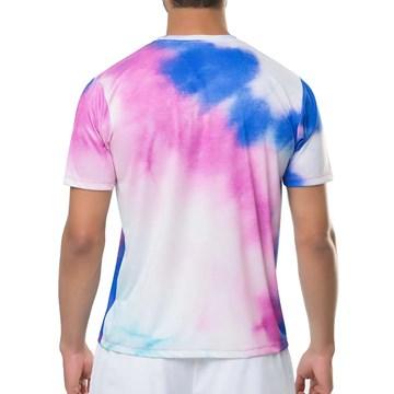 Camiseta Elite 135170 Gola Careca Masculina - Branco, Rosa e Azul