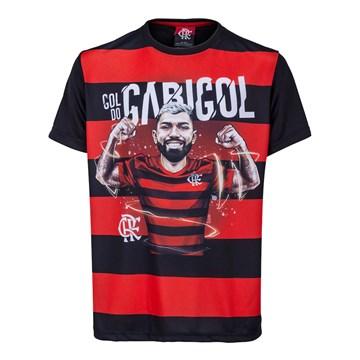 Camiseta Flamengo Braziline Gabigol Infantil - Preto e Vermelho