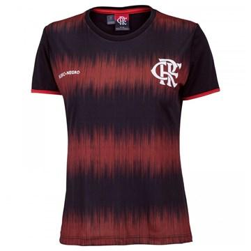 Camiseta Flamengo Braziline Part Feminina - Preto e Vermelho