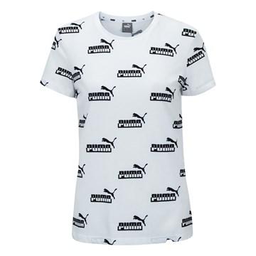 Camiseta Puma Amplified Printed Feminina - Branco e Preto