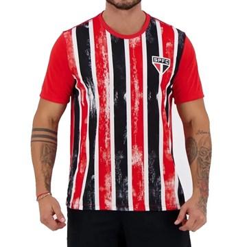 Camiseta São Paulo Braziline Fold Masculina - Vermelho e Preto