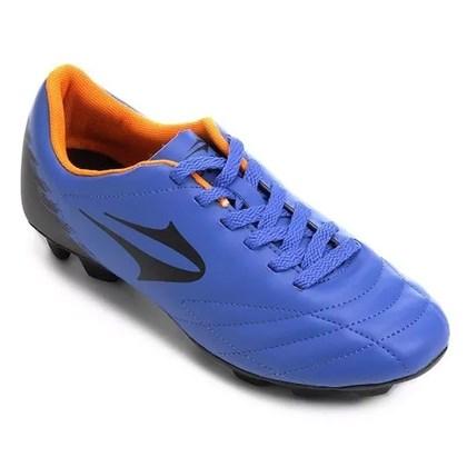 71fed22085 Chuteira Campo Topper Slick II Masculina - Azul e Laranja - Esporte ...