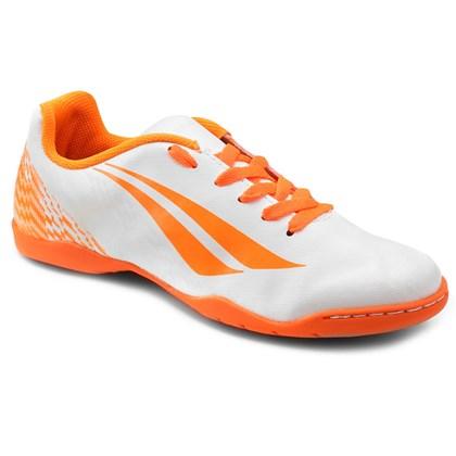 Chuteira Futsal K Soccer Storm 7 Infantil - Branco e Laranja ... 94b4bbd142eaf