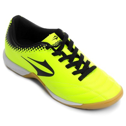 Chuteira Futsal Topper Sprint Infantil - Lima e Preto - Esporte Legal 75d6b2a4b1db3