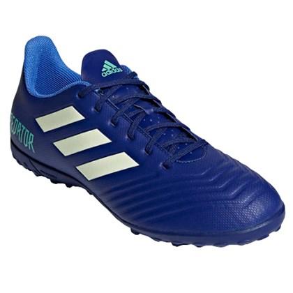 Chuteira Society Adidas Predator 18.4 Masculino - Azul e Verde ... 5a2798ff25b36