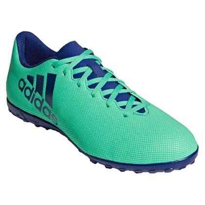 Chuteira Society Adidas X 17.4 Masculina - Verde e Azul - Esporte Legal 2800946b9d721