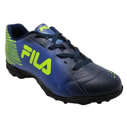be4c4cb57d Chuteira Society Fila Control - Azul Marinho e Verde - Esporte Legal