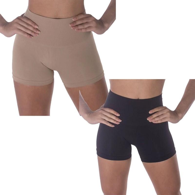Kit 2 Calcinhas Boxer Selene Redutora Sem Costura Feminino - Preto e Nude