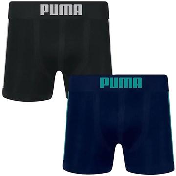 Kit 2 Cuecas Long Boxer Puma Sem Costura Masculina - Preto e Marinho